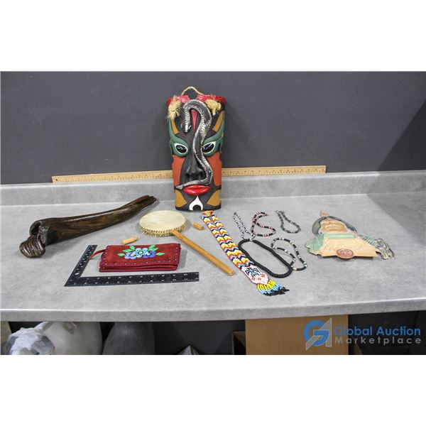 Clay Mask, Hand Drum, Beaded Necklaces, Sexton Wall Decor & Wallet