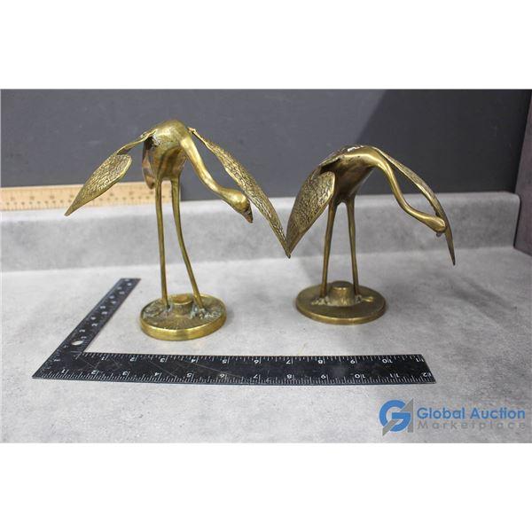 (2) Brass Cranes