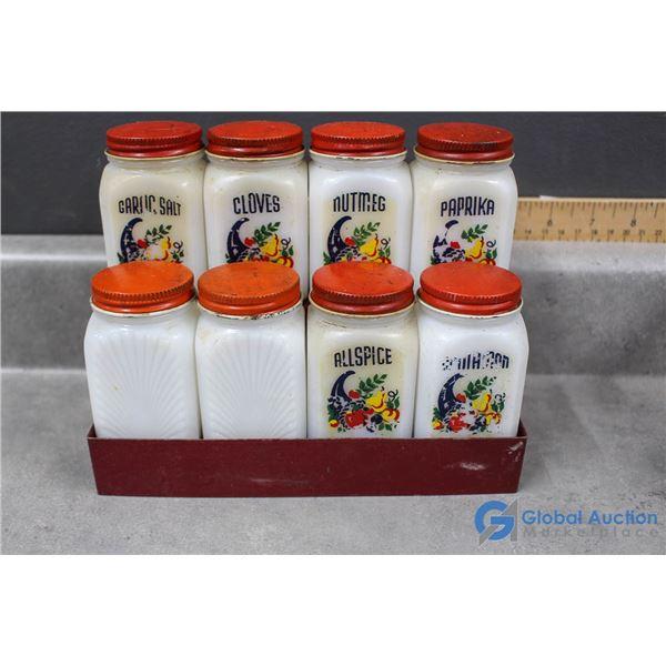 (8) Milk Glass Spice Jars & Metal Rack