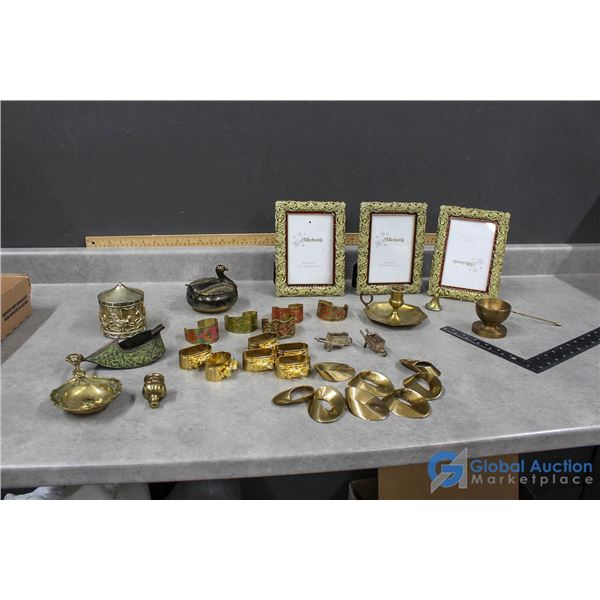 Assorted Brass - Ashtray, Candle Holders, Bracelets & Picture Frames