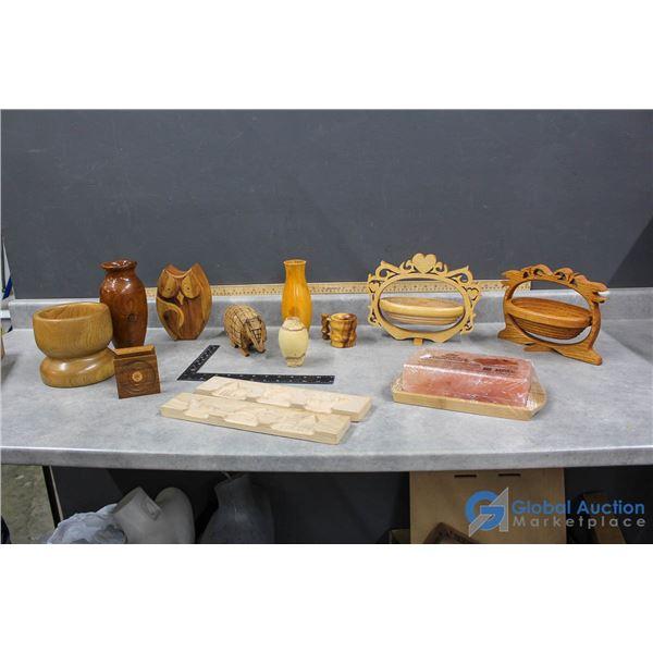 Wooden Folk Art, Vases, Piggy Bank, Decor & (1) Himalayan Salt Block