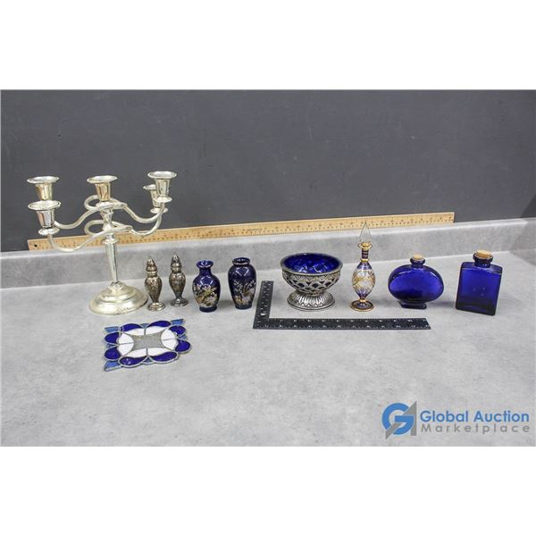 Silver Candlestick & Blue Glass Collectibles