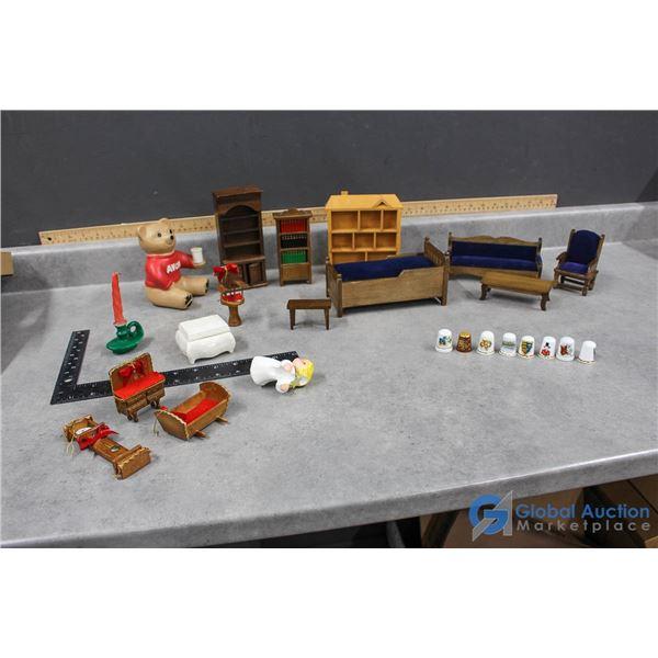Miniature Dollhouse Furniture, Ceramic Avon Bear & Decorative Thimbles