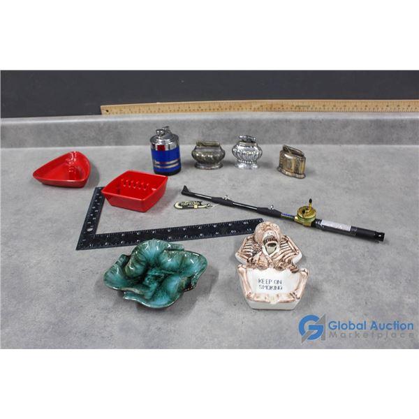 (4) Vintage Table Lighters, Fishing Rod Lighter & Ashtrays