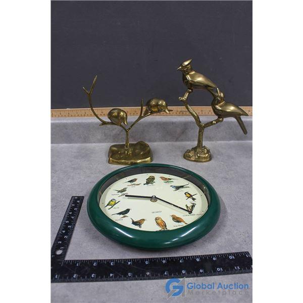 (2) Brass Bird Ornaments & Chirping Bird Clock
