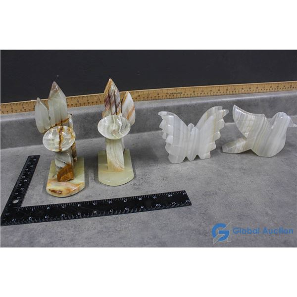 Marble Book Ends & Butterfly/Dove Napkin Holders