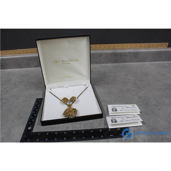 """""""Fifth Avenue"""" Cubic Zirconia Necklace & Clip-On Earring Set"""