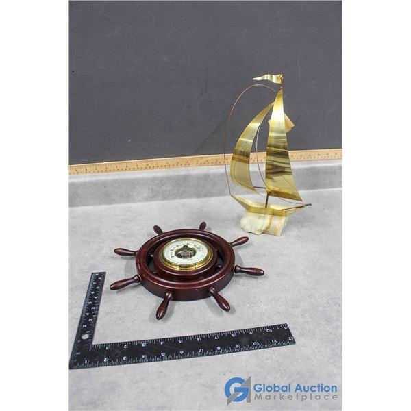 Fisher Precision Instrument/ Barometer & Signed Yosi Brass Said Boat
