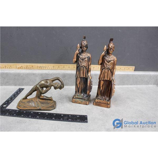 (2) Copper/Bronze Athena & Goddess Statues