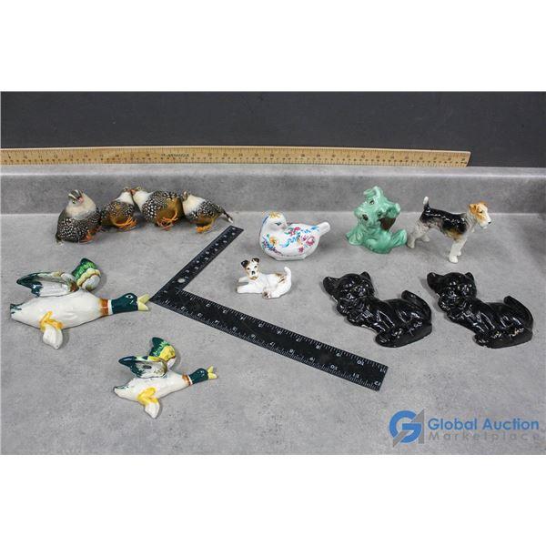 Assorted Dog/Cat/Bird Ornaments & Chalkware