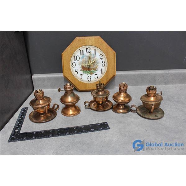 Copper Lamps & Wooden Clock