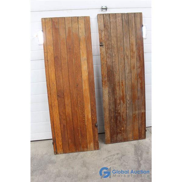 **(2) Antique Fir Cupboard Doors