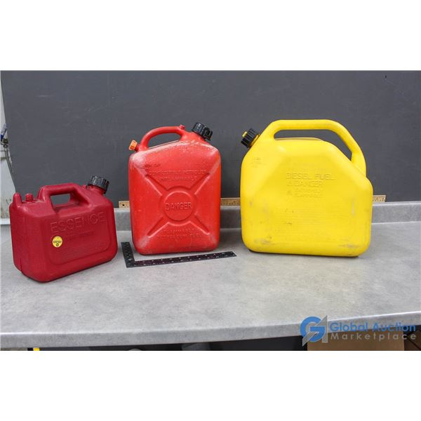 (3) Jerry Cans - 20, 10 & 5 Litres