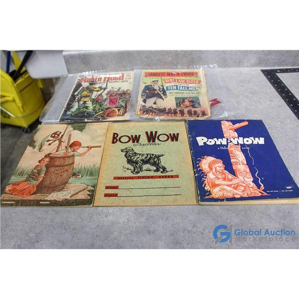 (2) Vintage Comics & (3) Vintage School Books