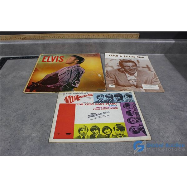 Elvis Record, The Monkees Piano Book & Catch a Falling Star Music Book