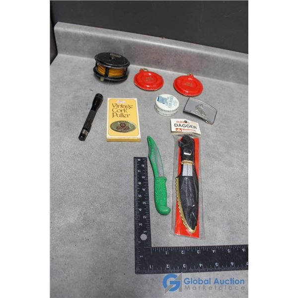 Woolworth Rubber Knife, Belt Buckle, Fishing Reel & Cork Puller