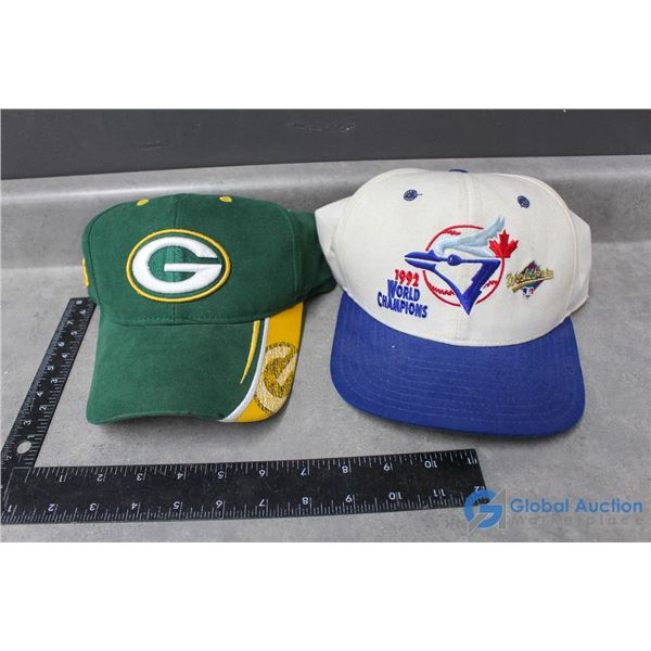 (2) Sport Ball Caps - Blue Jays & Green Bay Packers
