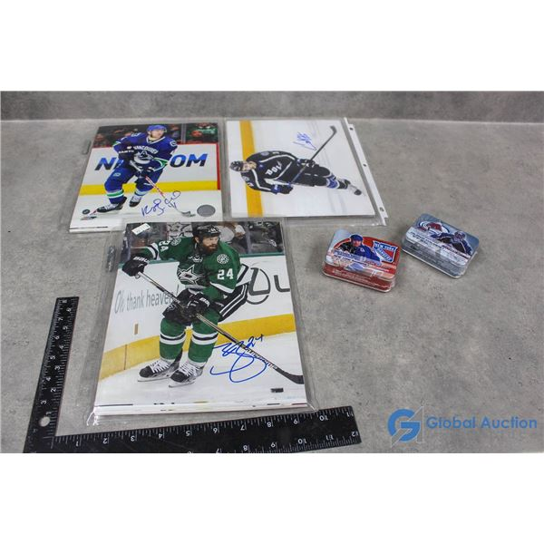 Collection of Signed Photo Hockey Players & Unopened Tins
