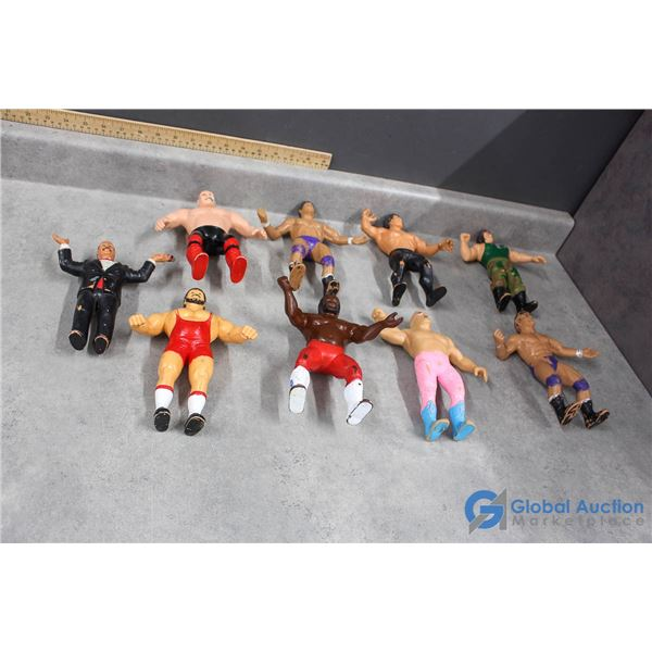 (9) Vintage Rubber WWF Wrestler Action Figures