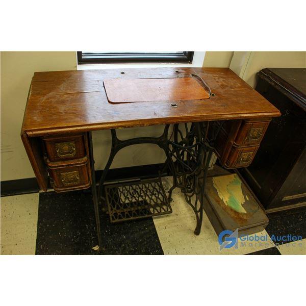 **Singer Treadle Sewing Desk - No Machine - w/Contents