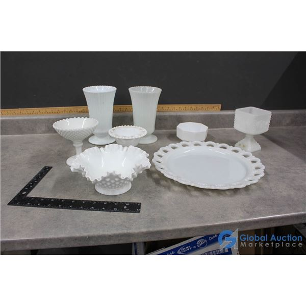 Assorted Milk/ White Glass Pieces