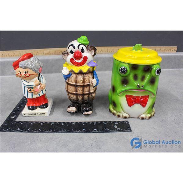 (3) Ceramic Piggy Banks