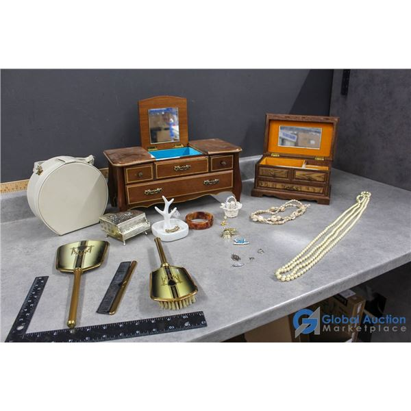 Jewelry Boxes, Vanity Items, Charms & Assorted Collectibles