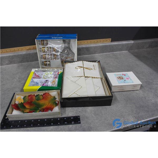 In Box Decanter Set, Decorative Crystalline & Stationary
