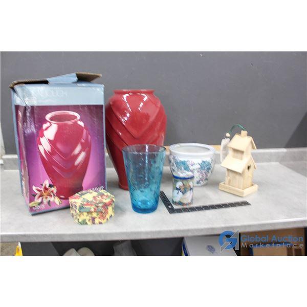 Assortment of Vases, Decor & Wooden Bird House