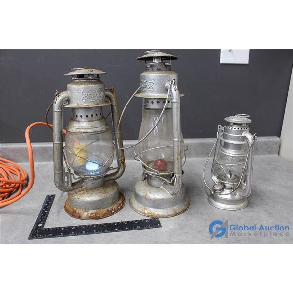 Beacon Electric Converted Lantern & Small Oil Lantern