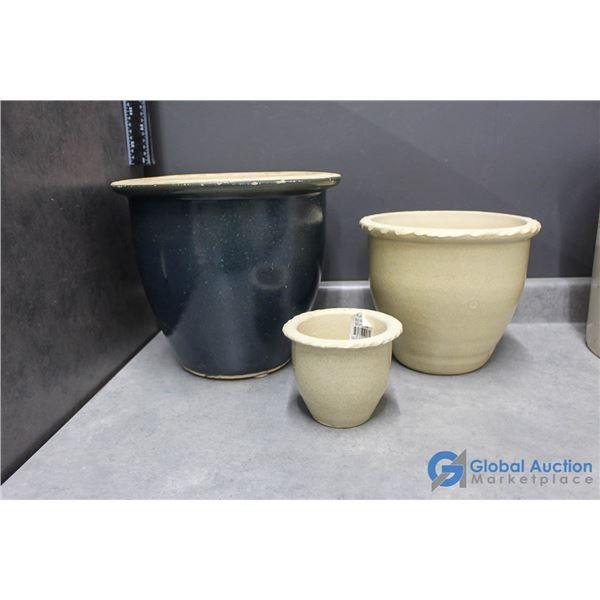 (3) Stoneware Planter Pots