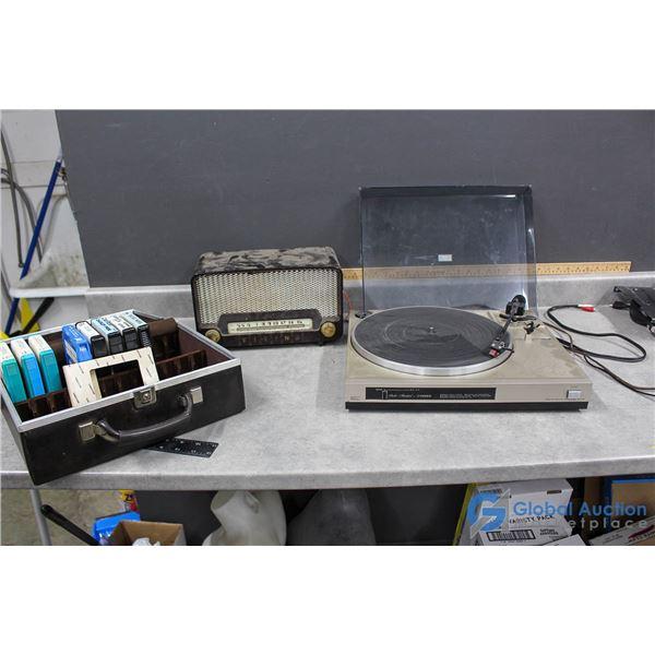 Fisher Turntable, Viking Radio & 8-Tracks in Case