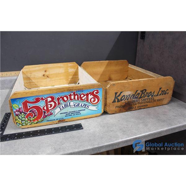 (2) Wooden Fruit Crates