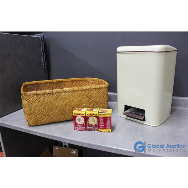 Wicker Basket, Vintage Garbage Can & Home Canning