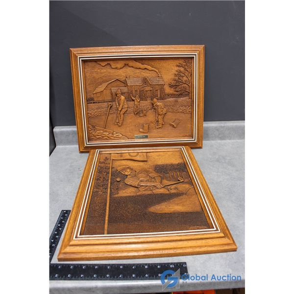 (2) Framed Wood Art Carved By Kim Murray
