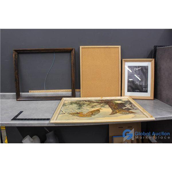 Framed Picture Art by A Lassell Pipley, Cork Board & Frames