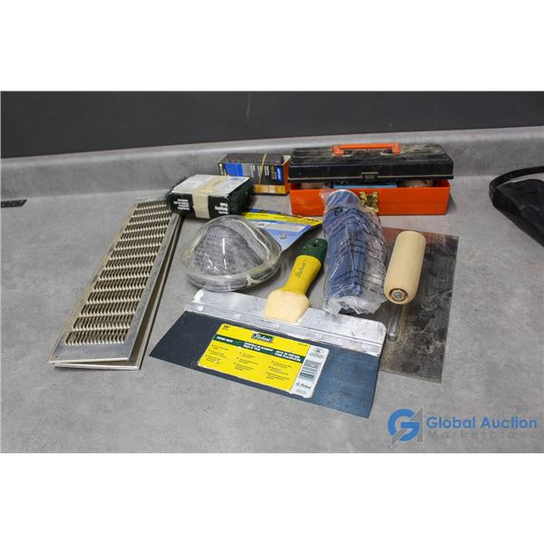 Home Project Supplies - Mask, Mud Scappers, Sanding Sponge, Power Tool Attachment Set
