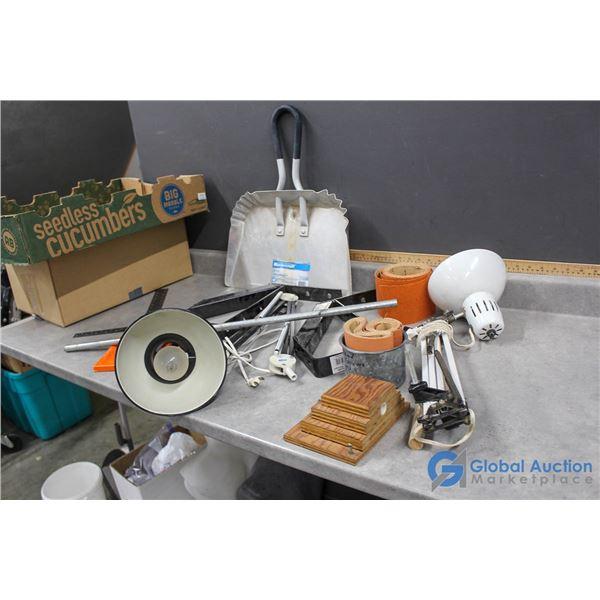 Work Bench Lamps, Sandpaper & Assorted Hardware