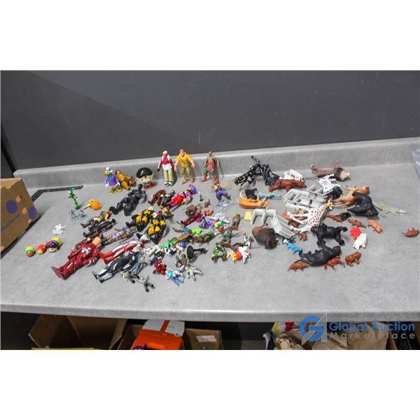Assorted Toys - Disney, Tron, Animals, Marvel, DC