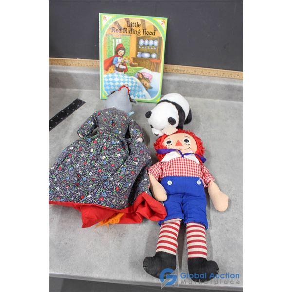 Little Red Riding Hood & Book, Panda Bear & Raggedy Andy