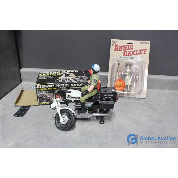 Police Man & Motorcycle w/Box & Annie Oakley in Package