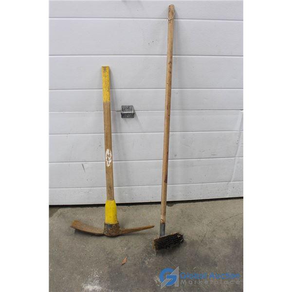 **Pick Axe & Wire Broom