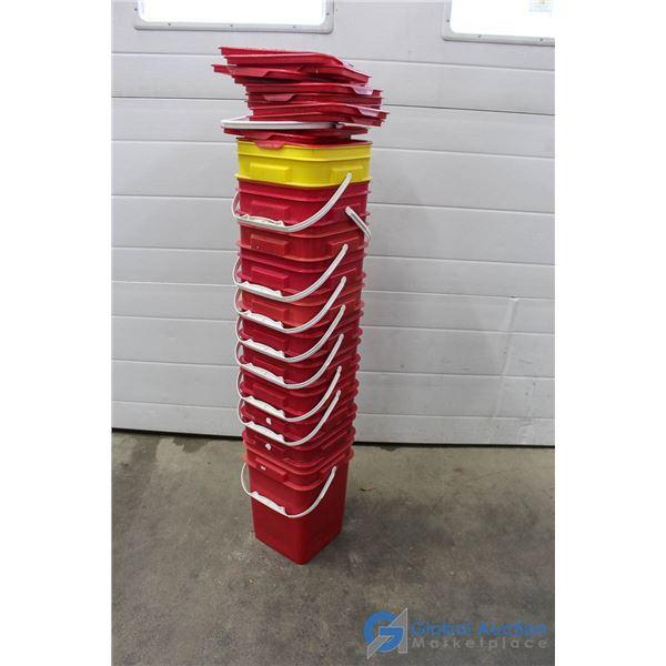 **(11) Red Storage Buckets w/Lids