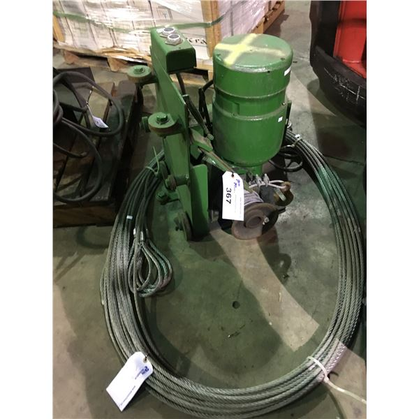 GREEN CLARK INDUSTRIAL ELECTRIC CABLE HOIST WITH HOOK AND CABLE SLINGS