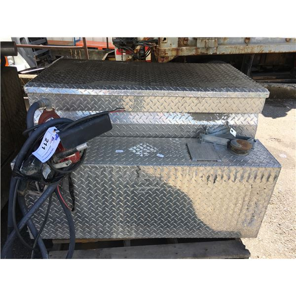 STAINLESS STEEL CHECKER PLATE REFUELING TANK AND TOOLBOX COMBINATION WITH FILRITE REFUELING PUMP