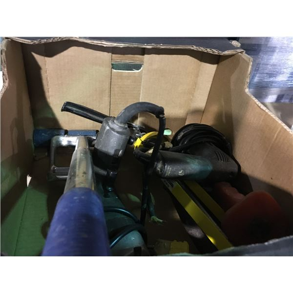 BOX OF ASSORTED POWER AND HAND TOOLS
