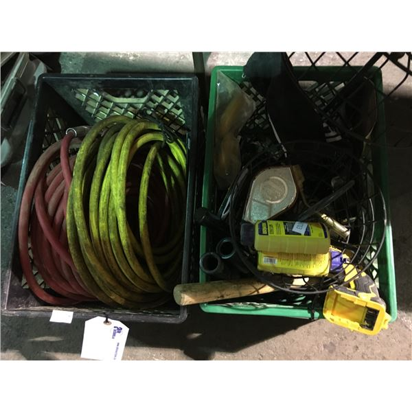 2 BOXES OF ASSORTED HAND TOOLS, HARDWARE AND 2 AIR HOSES