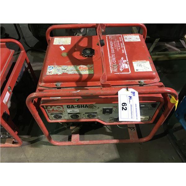 MQ GA-6HA 6000 PORTABLE INDUSTRIAL GAS POWERED GENERATOR