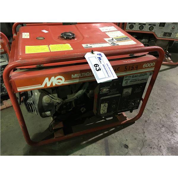 MQ GAC-6HZR 6000 PORTABLE INDUSTRIAL GAS POWERED GENERATOR