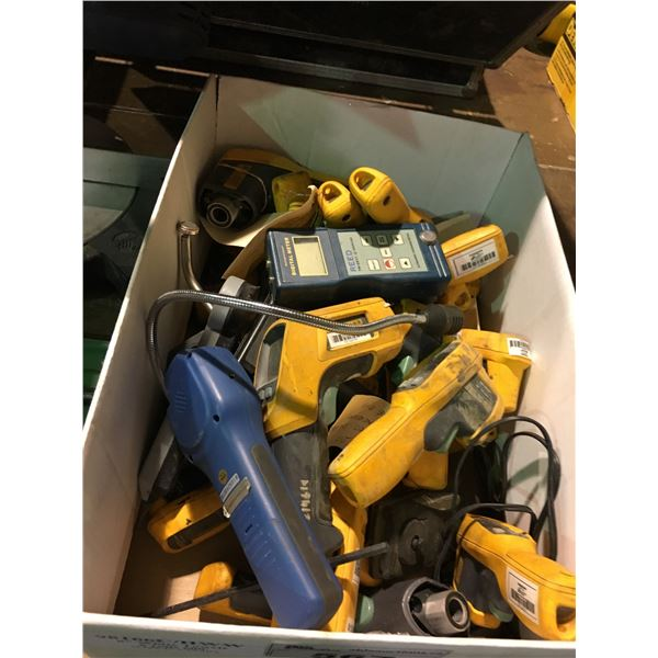 BOX OF ASSORTED INFRARED THERMOMETER, DIGITAL METER READER, AND TONE PROBE